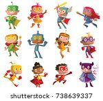 vector set of twelve cartoon... | Shutterstock .eps vector #738639337