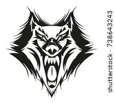 fierce wolf face. | Shutterstock .eps vector #738643243