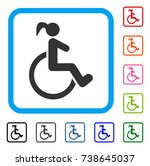 disabled woman icon. flat grey...   Shutterstock .eps vector #738645037