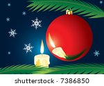 candle and xmas ball. a... | Shutterstock .eps vector #7386850