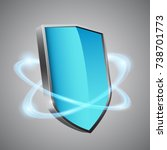 3d blue shield with glowing... | Shutterstock .eps vector #738701773