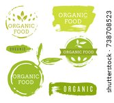organic food icons  labels.... | Shutterstock .eps vector #738708523