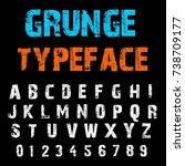 handcrafted alphabet script...   Shutterstock .eps vector #738709177