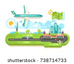 airport building infrastructure ... | Shutterstock .eps vector #738714733