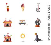 traveling chapiteau circus... | Shutterstock . vector #738717217