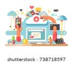 office documents workflow.... | Shutterstock .eps vector #738718597