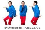 set of handsome young man...   Shutterstock . vector #738722773