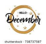 hello december   grunge  ... | Shutterstock .eps vector #738737587