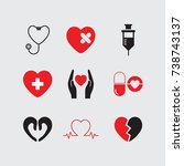 heart care icons set vector.    Shutterstock .eps vector #738743137