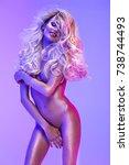 blonde beautiful woman in the...   Shutterstock . vector #738744493