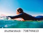 surf girl on the surfboard.... | Shutterstock . vector #738744613