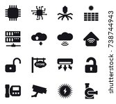 16 vector icon set   chip ... | Shutterstock .eps vector #738744943