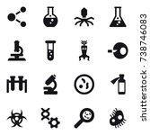 16 vector icon set   molecule ...   Shutterstock .eps vector #738746083