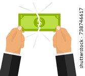 hands break the money bill. two ... | Shutterstock .eps vector #738746617
