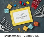 hanukkah background with photo... | Shutterstock . vector #738819433