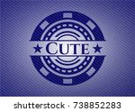cute badge with denim background | Shutterstock .eps vector #738852283