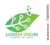 green leaf technology logo... | Shutterstock .eps vector #738855043