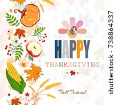 happy thanksgiving abstract... | Shutterstock .eps vector #738864337