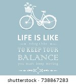 vintage card with a bike on... | Shutterstock .eps vector #738867283