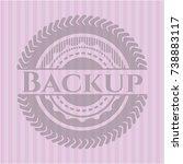 backup retro pink emblem | Shutterstock .eps vector #738883117