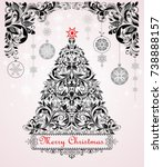 vintage christmas black and... | Shutterstock .eps vector #738888157