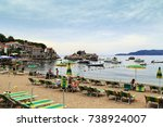 Small photo of PRZNO, MONTENEGRO - SEPTEMBER 9, 2013: It is the beach of the small resort village on the Adriatic coast.