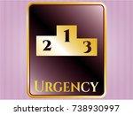 golden emblem or badge with... | Shutterstock .eps vector #738930997