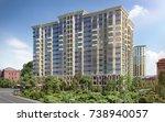 modern residential complex  3d... | Shutterstock . vector #738940057