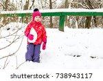 little cute caucasian girl in a ... | Shutterstock . vector #738943117