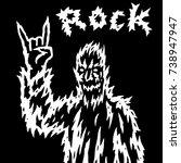 the rock demon gestures with...   Shutterstock .eps vector #738947947