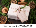 christmas gift on the antique... | Shutterstock . vector #738948997