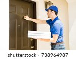 delivery guy knocking on a door ... | Shutterstock . vector #738964987