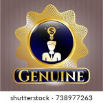 gold emblem or badge with... | Shutterstock .eps vector #738977263