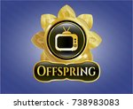 gold shiny badge with old tv ... | Shutterstock .eps vector #738983083