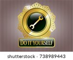 shiny badge with wrench icon...   Shutterstock .eps vector #738989443