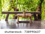 classic old wood table in park. | Shutterstock . vector #738990637
