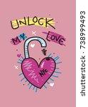 new york unlock my love t shirt ...   Shutterstock .eps vector #738999493