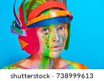 model with colorful abstract...   Shutterstock . vector #738999613
