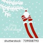 funny santa claus decorating... | Shutterstock .eps vector #739008793
