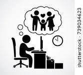 thinking of going home having... | Shutterstock .eps vector #739034623