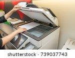 women copying paper from... | Shutterstock . vector #739037743