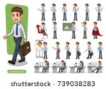 set of businessman cartoon... | Shutterstock .eps vector #739038283