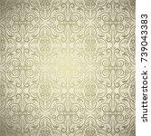 golden damask ornamental... | Shutterstock .eps vector #739043383