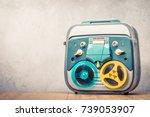 retro old reel to reel tape... | Shutterstock . vector #739053907