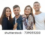 two women and men outdoors on...   Shutterstock . vector #739055203