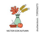 icon of autumn. bouquet from... | Shutterstock .eps vector #739056073