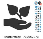 flora care hand icon with free... | Shutterstock .eps vector #739057273
