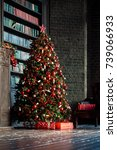 classic green new year tree in... | Shutterstock . vector #739066933