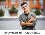 portrait of a trendy young man... | Shutterstock . vector #739072537