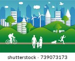 paper art carving of peoples... | Shutterstock .eps vector #739073173